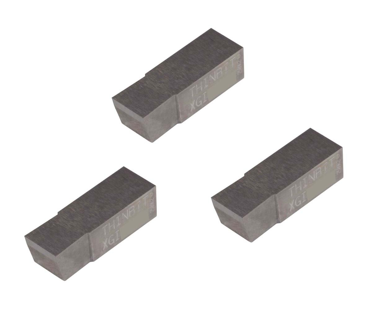 THINBIT 3 Pack XGI196D5 0.196 Width 0.250 Depth Uncoated Carbide Grooving Insert for Non-Ferrous Alloys Sharp Corner Aluminium and Plastic Without Interrupted Cuts