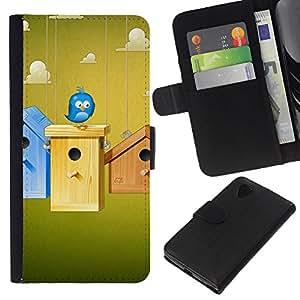 Planetar® Modelo colorido cuero carpeta tirón caso cubierta piel Holster Funda protección Para LG Google NEXUS 5 / E980 / D820 / D821 ( Cute Blue Bird )