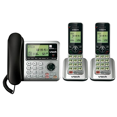 VTech CS6649-2 DECT 6.0 Digital Corded Base and Cordless Dual-Handset Home Phone Answering System, Silver/Black (Renewed) from VTech