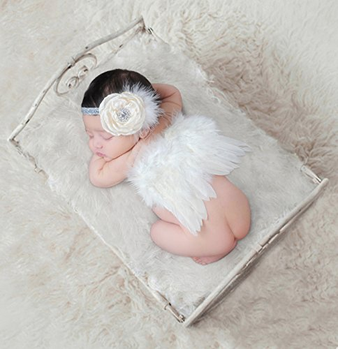 Newborn Photography Props with Angel Wings Chic Flower Lace Headband for Baby Girl Boy Toddler Camera Photo Accessories Posing Backgroud Cute Cupid Costume Outfit Children's Day Party Birthday Gift ()
