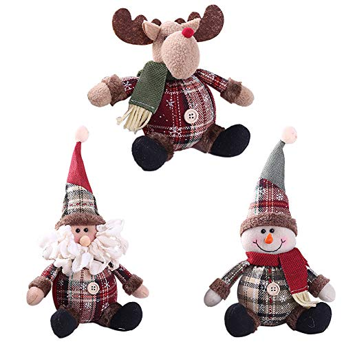 Hippicity Christmas Ornaments 3 Pieces Lovely Christmas Cartoon Stuffed Doll Xmas Room Decoration Home Decors Ornaments Santa Claus Snowman Elk (Ornaments Snowman Stuffed)