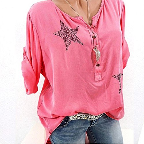 Blouses & Shirts Provided Women Button Five-pointed Star Hot Drill Plus Size Tops Blouse