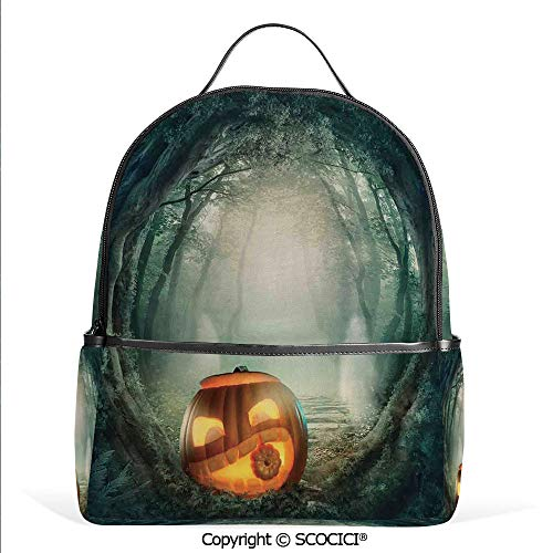 3D Printed Pattern Backpack Scary Halloween Pumpkin Enchanted Forest Mystic Twilight Party Art,Orange Teal,Adorable Funny Personalized -