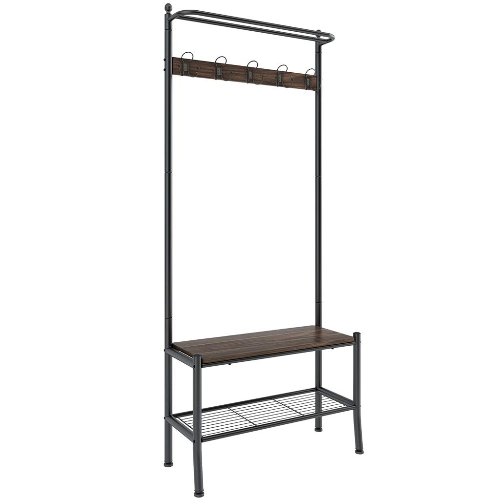 LANGRIA Entryway Coat Rack with Spacious Shoe Bench Features Heavy Duty Metal Frame and Stylish Industrial Hall Tree Design Storage Shelf with Hooks for Home and Office to Store Jackets, Hats, Bags