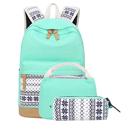 School Backpacks for Teen Girls Lightweight Canvas Backpack Bookbags Set (Light Green) -