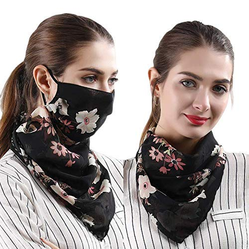 SKUDGEAR Stylish Scarf for Dust and Pollution and Breathable Sun Protection Scarf (Black with Flowers): Amazon.in: Car & Motorbike
