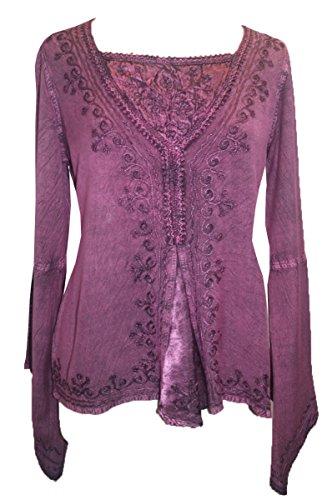 01 B Agan Traders Renaissance Gypsy Blouse Top (Medium, Plum) -