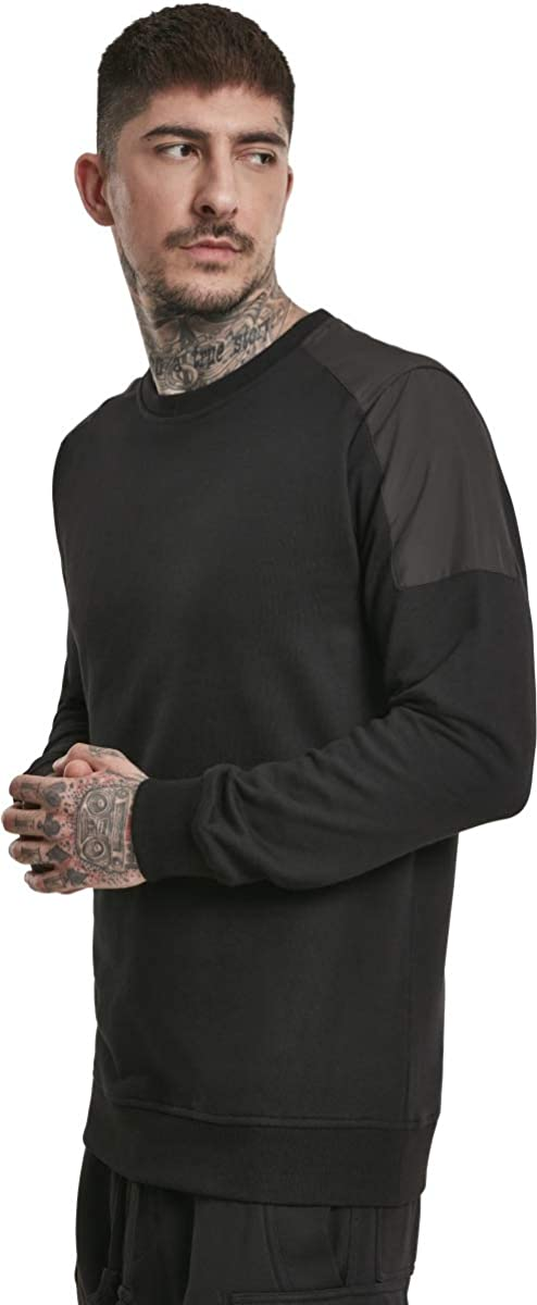 Urban Classics Herren Sweatshirt Military Shoulder Crew Pullover T-Shirt Black