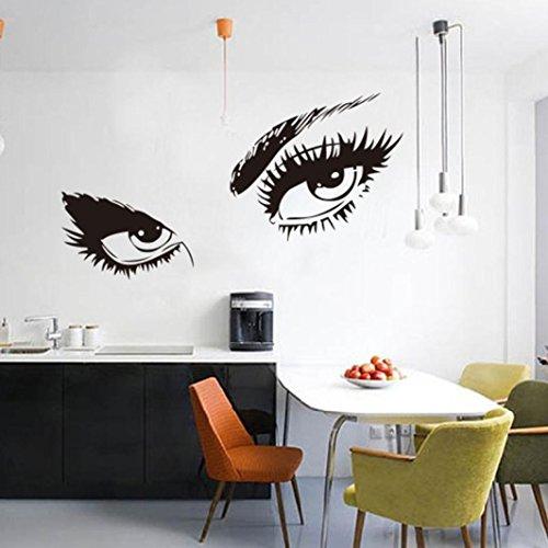 Jujunx Beautiful Audrey Hepburn's Eyes Silhouette Wall Sticker Decals Unique Home Bedroom Decor (Black)