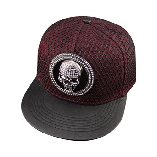 (So'each Punk Skull Hip Hop Flatbill Visor Snapback Peaked Cap Baseball Hat D Red)