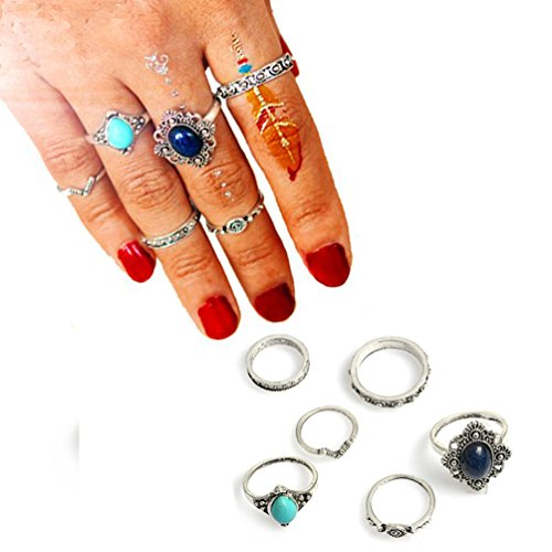 Letter Love Blue Stone Bohemian Vintage Punk Ethnic Crystal Silver Rings Sets for Women Joint Knuckle Ring Set 6 pcs -