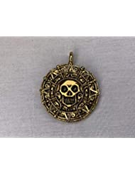 Pirates of The Caribbean, Cursed Aztec Coin Pendant, Solid Metal, Gold,