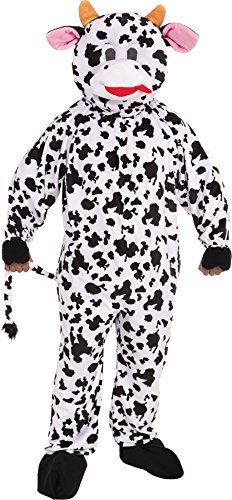 [UHC Unisex Cow Plush Mascot Jumpsuit Funny Theme Party Adult Halloween Costume, OS (Up to 42)] (Deluxe Plush Cow Mascot Costumes)