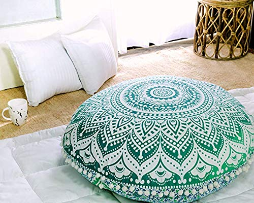 Popular Handicrafts Mandala Round Hippie Floor Pillow Cover (Green, 32 Cushion Cover)