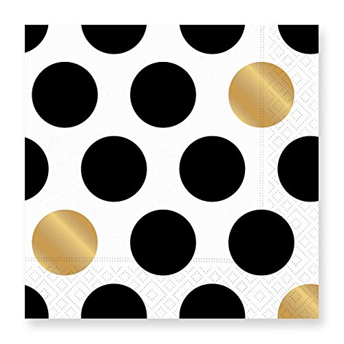 Kenzie-Black Luncheon Napkins (Dots Luncheon Napkins)