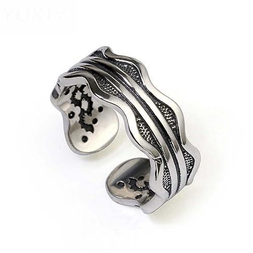 HFJ&YIE&H Los hombres de plata tailandesa tide ring personalidad retro 925 anillo de plata del amor