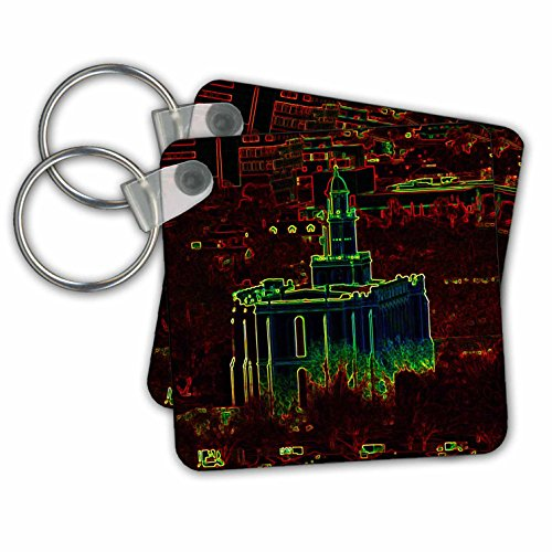 St George Ring (Jos Fauxtographee- Temple in Glowing Outline - A glowing edged Temple in St. George Utah - Key Chains - set of 2 Key Chains (kc_273454_1))