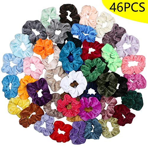 wreatrea Hair Scrunchies 46 Colors Hair Ties Velvet Elastics Hair Bands for Women Girls Laides Hair Access (Velvet-46colors)