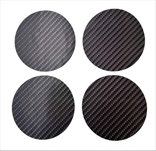75 mm Plain Kevlar Carbon Fiber 7.5 cm Round Circle Vinyl Wheel Cap Center Decal Decals 4 Pcs PVC Emblem Sticker Black Badge Trunk Truck Rims All Series Racing Automotive