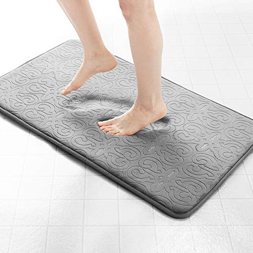 Genteele Memory Foam Bathroom Rugs Non-Slip Absorbent Bath Mat Rug Carpet, Machine Wash and Dry, Embossed Soft Velvet Plush Surface (22″ X 36″, Gray)