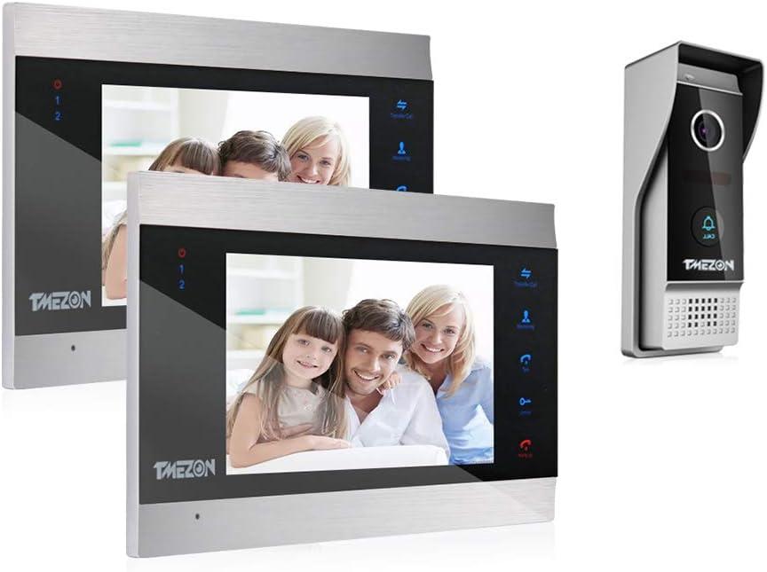 TMEZON Sistema de intercomunicación con Timbre para videoportero, Sistema de Entrada con 7 Pulgadas, 2 monitores y 1 cámara para 1 hogar