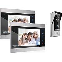 TMEZON Video Türsprechanlage Türklingel Intercom System, Türsprechanlage mit 7 Zoll 2-Monitor 1-Kamera Für 1-Familienhaus, Touch-Taste, Nachtsicht, Unterstützung automatisch Snapshot/Aufnahme