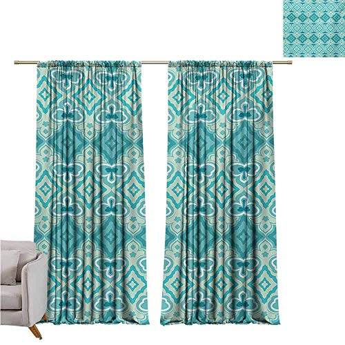GUUVOR Teal Wear-Resistant Color Curtain Abstract Geometric Pattern in Vintage Floral Design Historic Architectural Ornament Waterproof Fabric W52 x L54 Inch Teal Beige ()