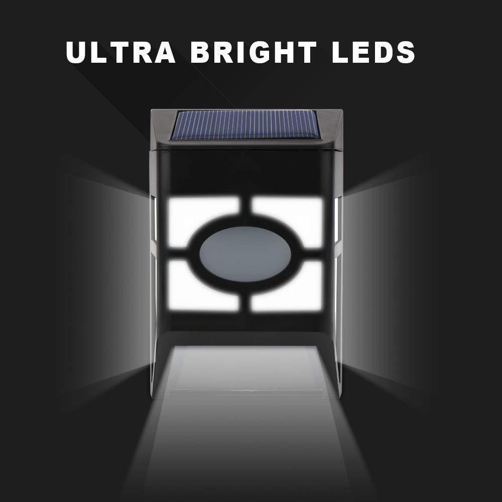 Derlights Waterproof Solar Powered LED Wall Light for Outdoor Landscape Garden Yard Lawn Fence Deck Roof Lighting Decoration 8pcs
