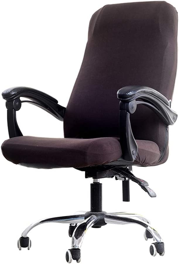 Deisy Dee Computer Office Chair Covers for Stretch Rotating Mid Back Chair Slipcovers Cover ONLY Chair Covers C162 (Brown)