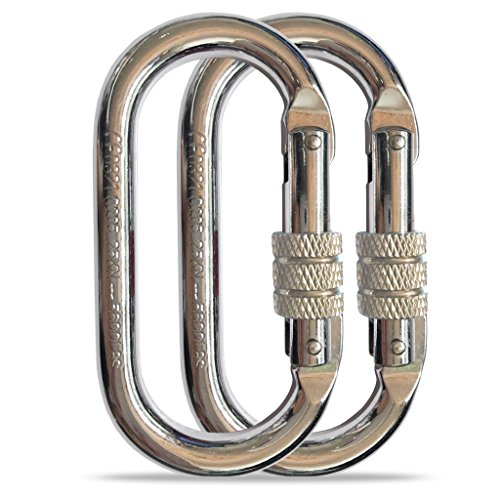 O-Shape Steel Carabiner (25kn=5600lb) Screw Lock Spring Gate Protection,CE Rated Heavy Duty Carabiners For Rock Climbing Rappelling Hiking Ropes Camping Rigging & Anchoring (O Shape Chrome, 2 Pack) (Rock Climbing Rigging)