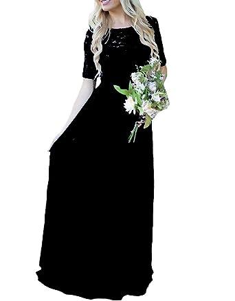 Gralre Women S Half Sleeves Long Bridesmaid Dress V Back Lace Beach