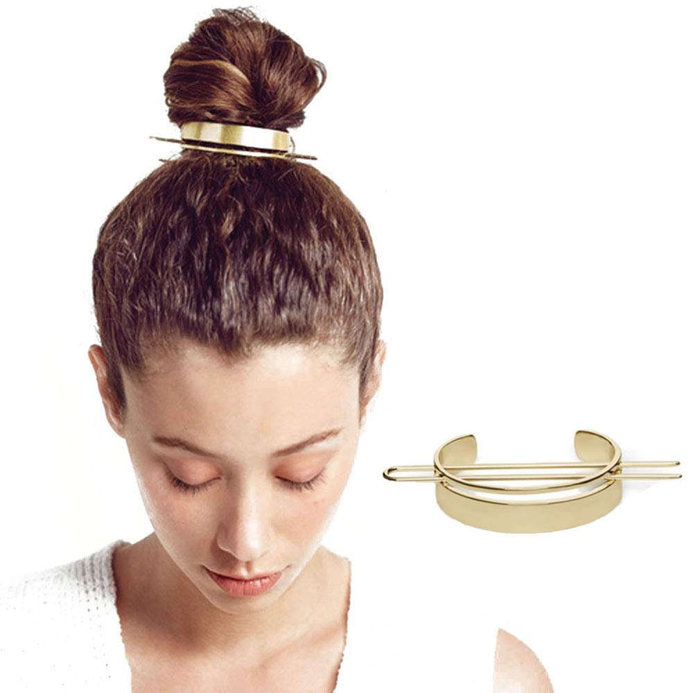Copper Bun Holder Hair Bun Cage Metal U Shape Hair Fork Pin Thick Hair Cage Gift for Women Rose Gold Hair Bun Cuff