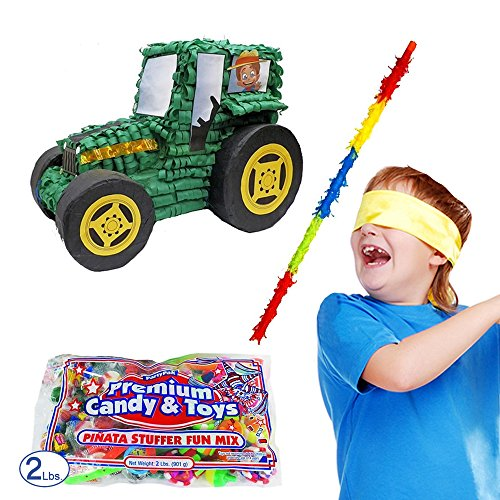 Pinatas Tractor Kit Including, Buster Stick, Bandana and Candy Filler, 2 lb.