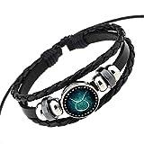 Rosemes Retro 12 Constellation Beaded Hand Woven Leather Bracelet PUNK Chain Cuff Taurus