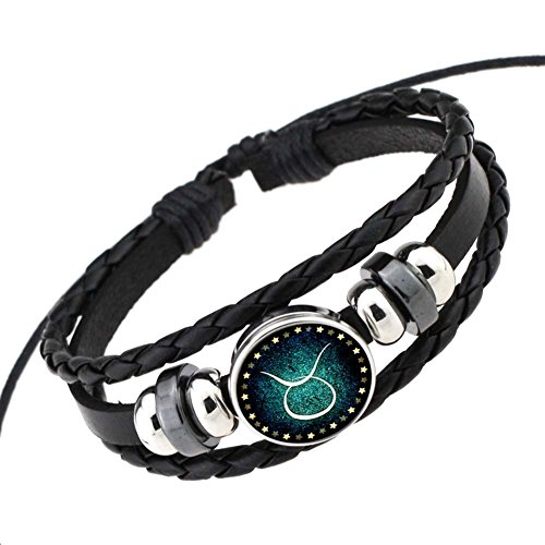 rosemes-retro-12-constellation-beaded-hand-woven-leather-bracelet-punk-chain-cuff-taurus