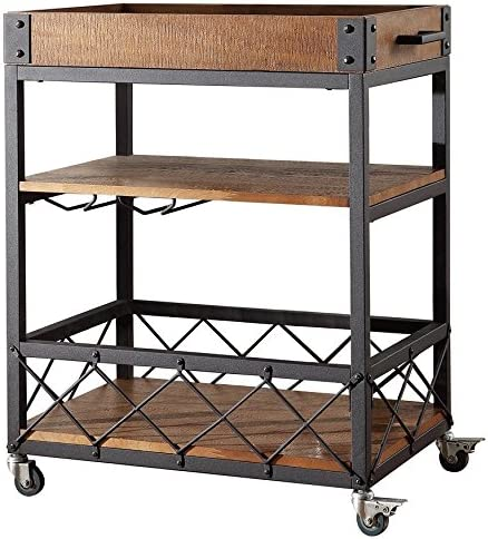 Bar Serving Cart TRIBECCA Home Myra Rustic Mobile Kitchen Brown
