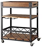 TRIBECCA HOME Myra Rustic Mobile Kitchen Bar Serving Cart