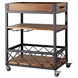 Bar Serving Cart TRIBECCA Home Myra Rustic Mobile Kitchen