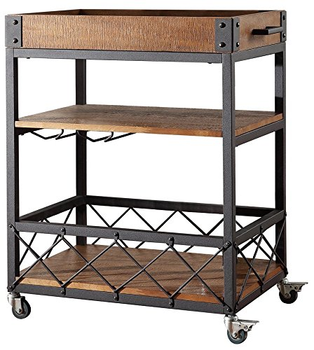 Mobile Wine - TRIBECCA HOME Myra Rustic Mobile Kitchen Bar Serving Cart