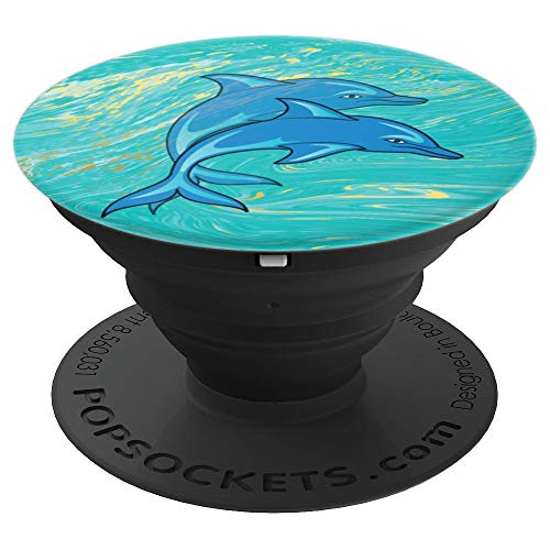 Cute Blow-Up Couple Dolphin Design On Marble Birthday Gifts - PopSockets Grip and Stand for Phones and Tablets ()