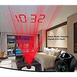 LED Projection Alarm Clock,Efaster Alarm Clock Multi-function Digital LCD Voice Talking LED Projection Temperature