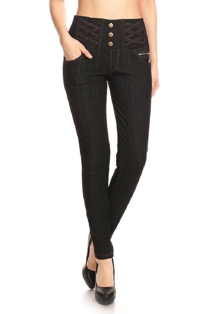 Jvini Women's High Waist Fleece-Lined Stretch Skinny Knit Denim Leggings One Size