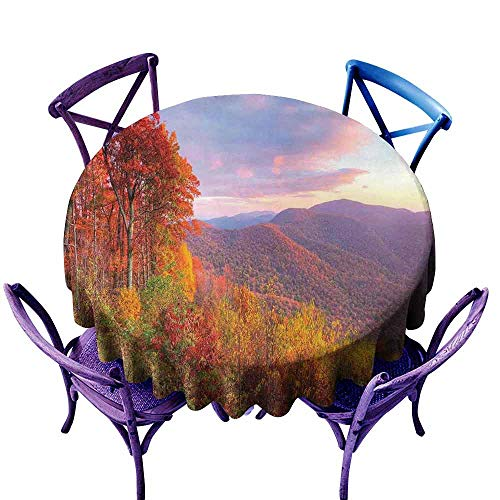 AndyTours Washable Round Tablecloth,Mountain,Sunrise Stunning Sky Colors Autumn Falls at South Western Village Scenery,for Events Party Restaurant Dining Table Cover,60 INCH Orange Blue -
