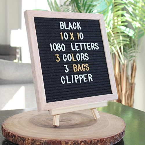 Black Felt Letter Board - 10x10 inch oak wood frame with a stand - 1080 Changeable Plastic letters in 3 colors with 3 bags - Inspirational announcement Message sign Letterboard wall mount. - Announcement Sign