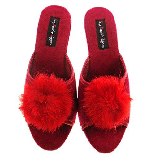 NEW Ladies SEXY Boudoir Wedge Mule Slippers RED UK 5 YrLJi6B9
