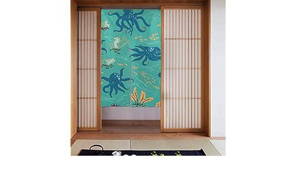 Generies - Cortinas para dormitorio con cenefa, diseño de pulpo con algas y peces japoneses para cocina, tamaño largo, 86 x 143 cm: Amazon.es: Hogar