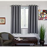 "NIM Textile Grommet Curtains, Thermal Insulated Blackout Drapes, 110""W x 63""L, 2-Panels Pack, Sofiter Collection (Dark Gray)"