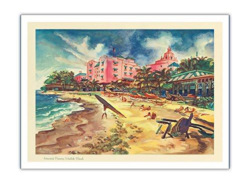 Hawaii's Famous Waikiki Beach - United Air Lines - Vintage Calendar Page by Joseph Feher c.1948 - Premium 290gsm Giclée Art Print - 12in x ()