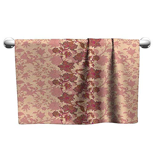 Mannwarehouse Floral Quick Dry Towel Boho Flowers in Vibrant Colors Moroccan Culture Blossoms Vintage Pattern Print W8 x L23 Peach and Coral