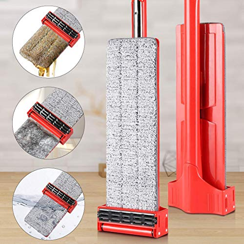Microfiber Hardwood Floor Mop, YAMTION Lazy Flip Flat Mop 360 Spin & Easy Self Wringing Wet and Dry Flip Mop 15 Inch with Stainless Steel Handle – Red (Total of 4 Microfiber Mop Pads) by YMATION (Image #1)